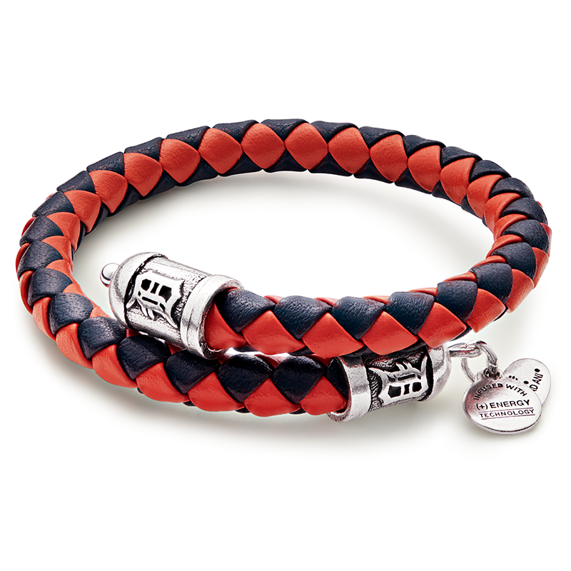 Detroit Tigers MLB Braided Leather Wrap Bracelet