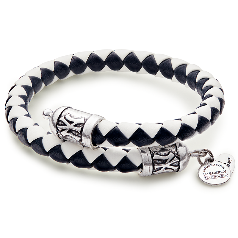 New York Yankees MLB Braided Leather Wrap Bracelet