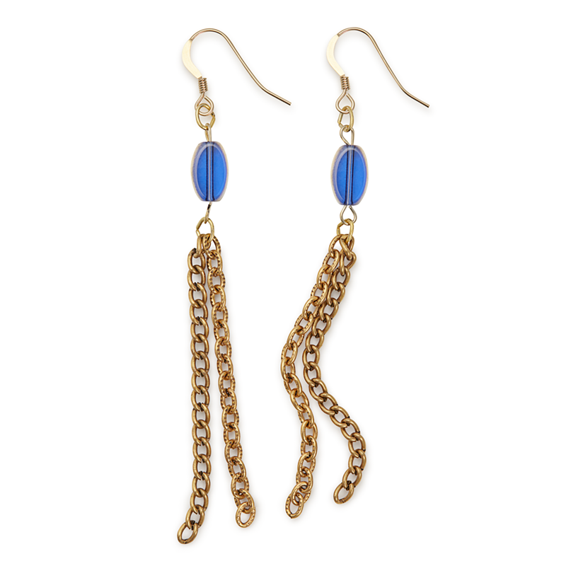 Chain Drop Earrings, Blue