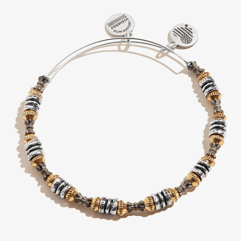 Tri-Tone Metal Beaded Bangle