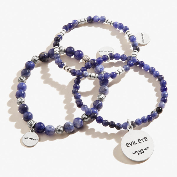 Evil Eye Beaded Stretch Bracelets, Set of 3
