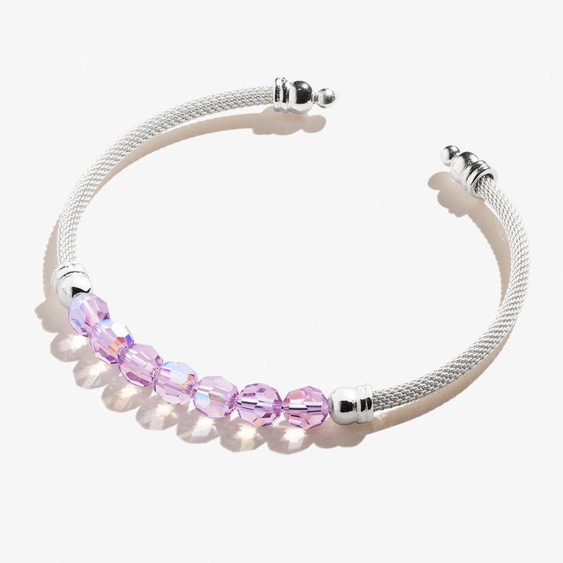 Light Amethyst Crystal Bead Mesh Cuff Bracelet