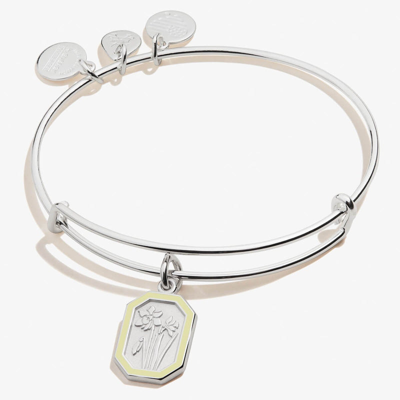 March Jonquil Flower Charm Bangle