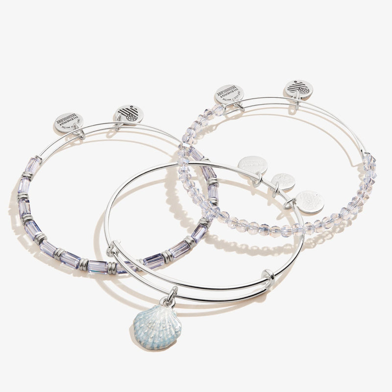 Scallop Shell Charm Bangles, Set of 3