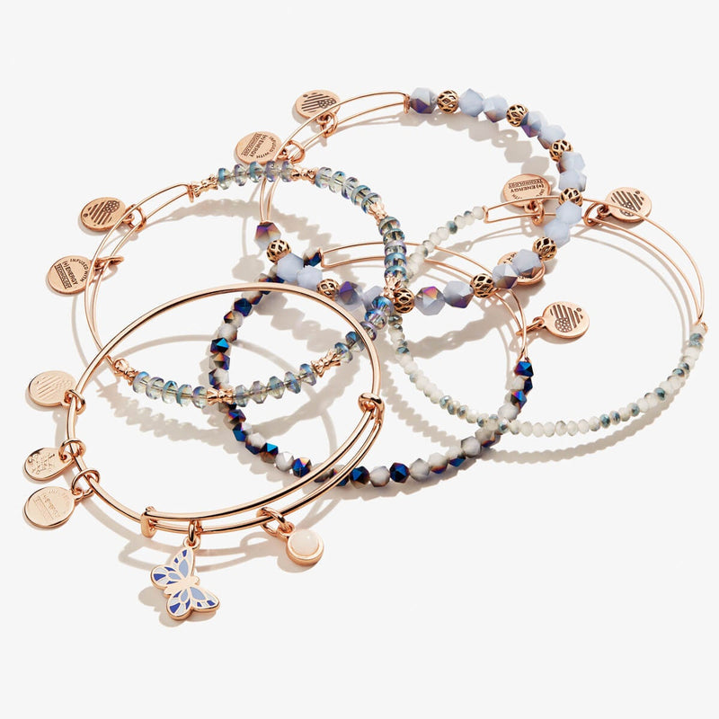 Flying Butterfly Charm Bangles, Set of 5