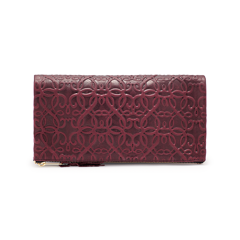 Fold Over Leather Clutch, Burgundy