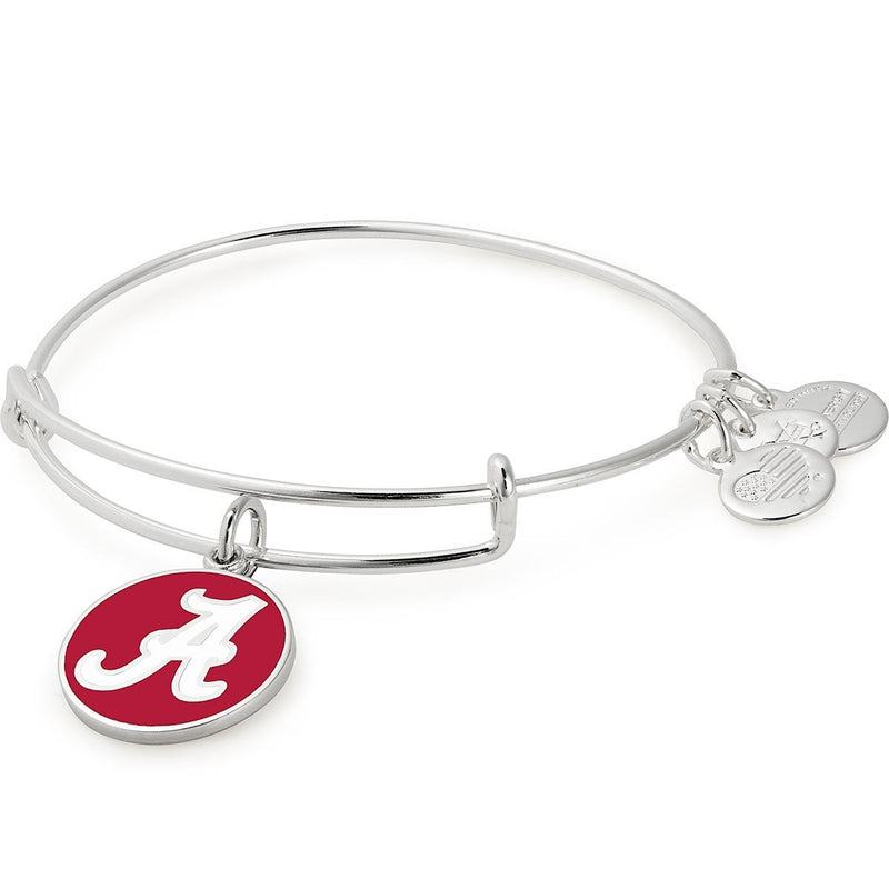 University of Alabama Logo Charm Bangle, Shiny Silver, Alex and Ani