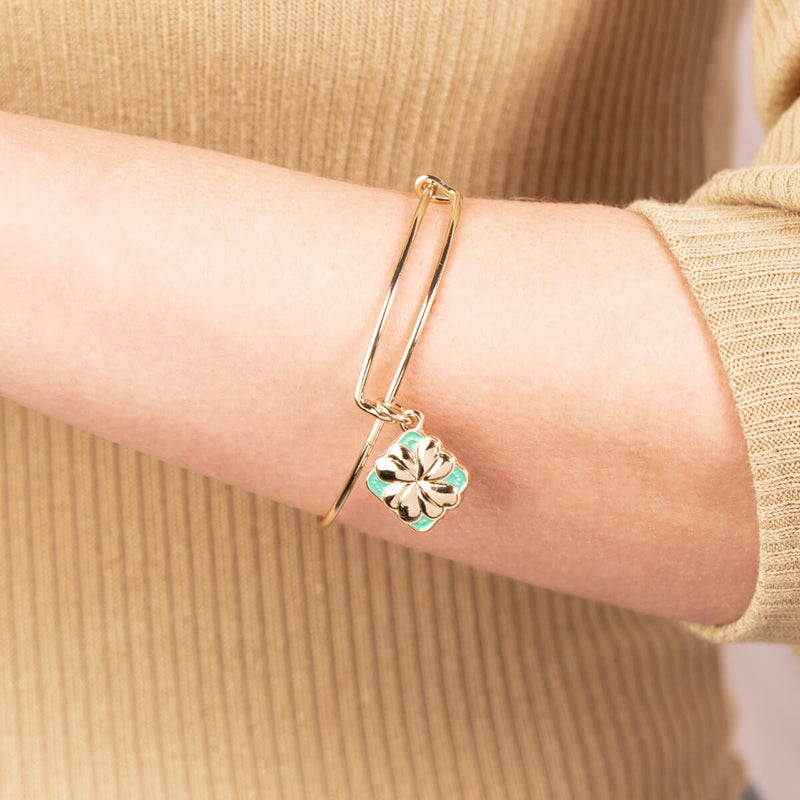 Four Leaf Clover Charm Bangle
