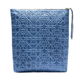 Gabriel Tidal Blue Leather Fold Over Clutch