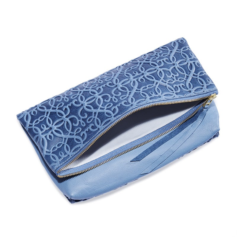 Gabriel Leather Fold Over Clutch, Tidal Blue