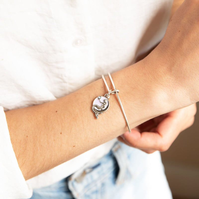 Mermaid Crystal Charm Bangle