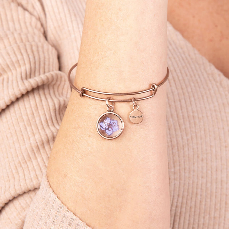 Wildflower & 'Survivor' Mantra Duo Charm Bangle