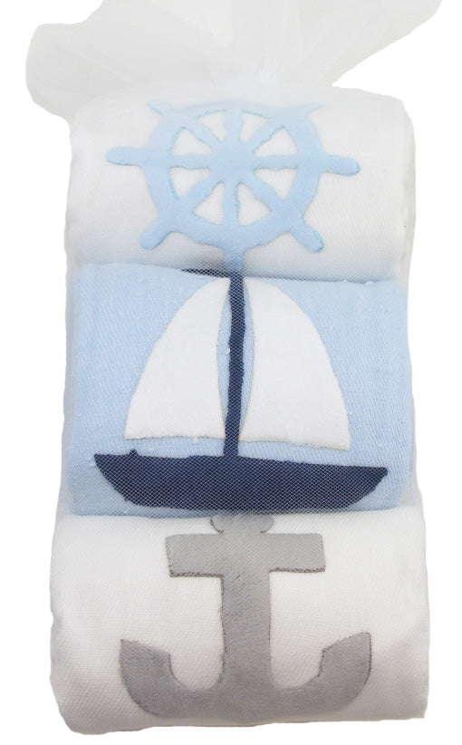 Burp Trio - Nautical Collection, Wheel, Sailboat & Anchor