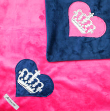 Load image into Gallery viewer, Heart & Royal Crown Minky Blanket
