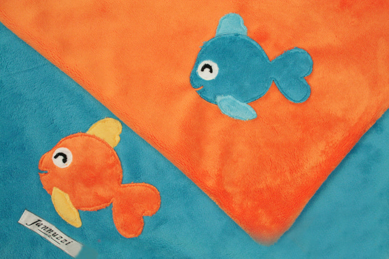 Happy Fish Minky Unisex Baby Blanket