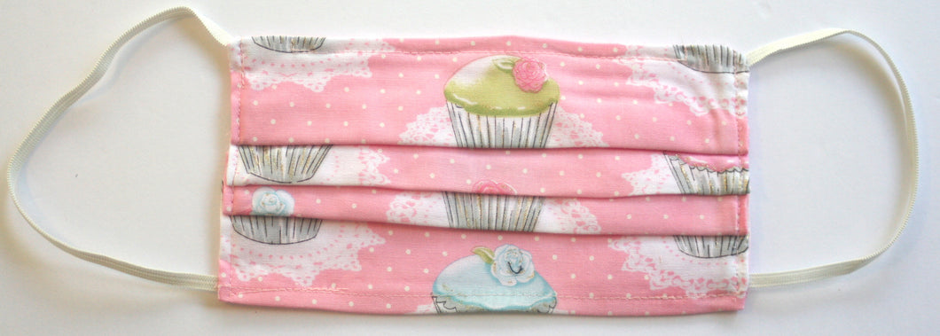 Cupcake Print Pink Fabric Pleated Face Mask