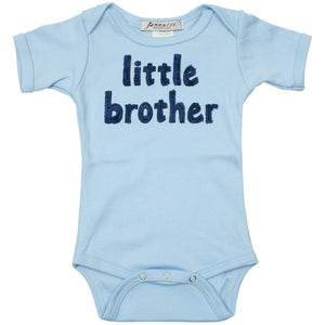 """little brother"" short sleeve light blue one piece"