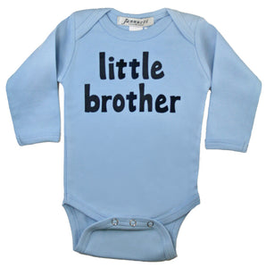 """little brother"" long sleeve light blue one piece"