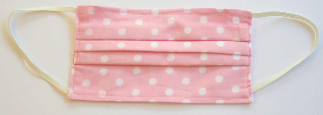 White Polka Dot Pink Fabric Pleated Face Mask