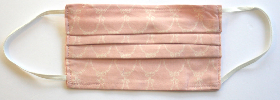 Ivory Ribbon Swag Print Dusty Pink Fabric Pleated Face Mask