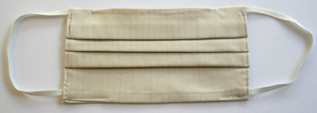 Silver Lurex Stripe Beige Fabric Pleated Face Mask