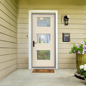 Modern entry door with three lite clear glass.