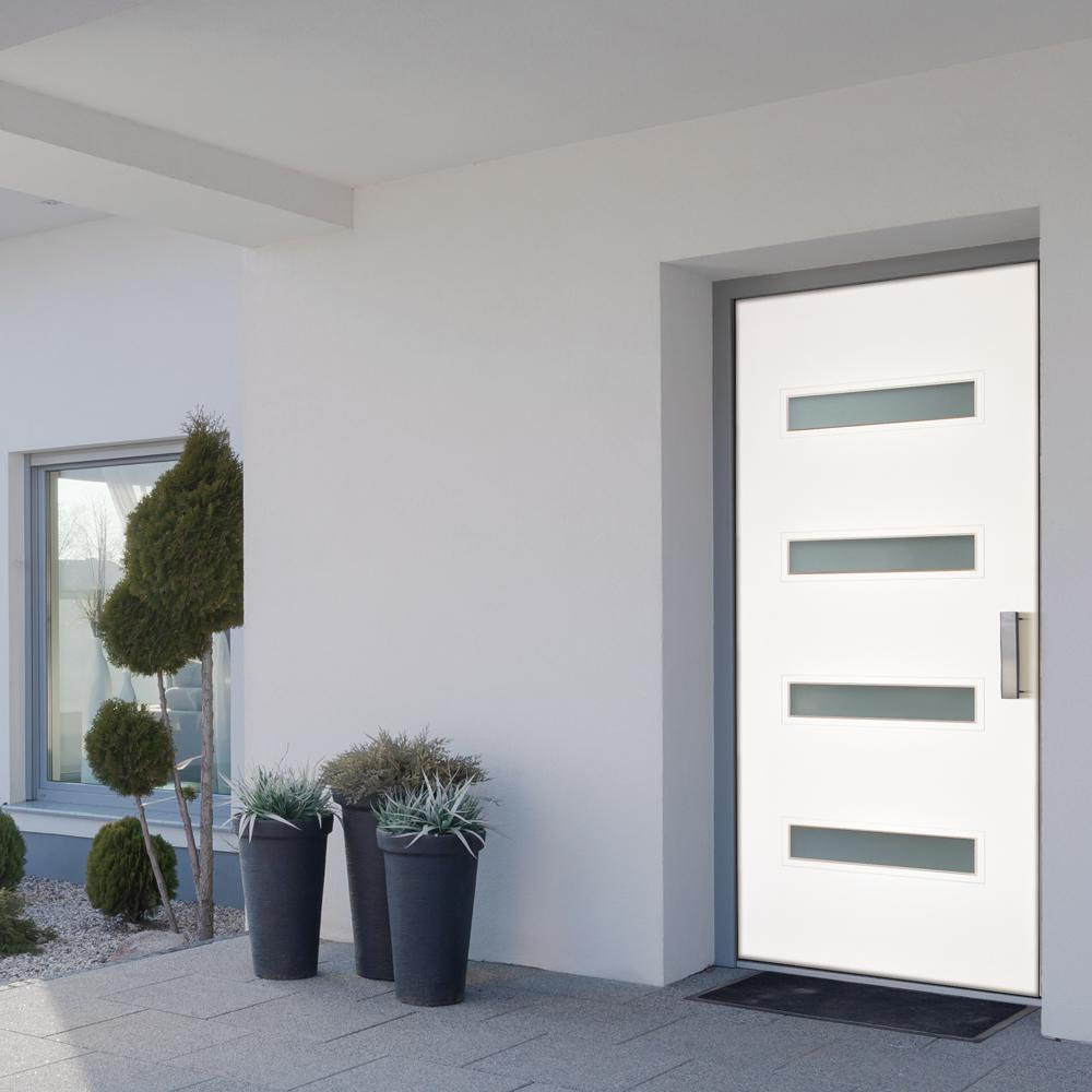 Modern entry door with frosted privacy glass.