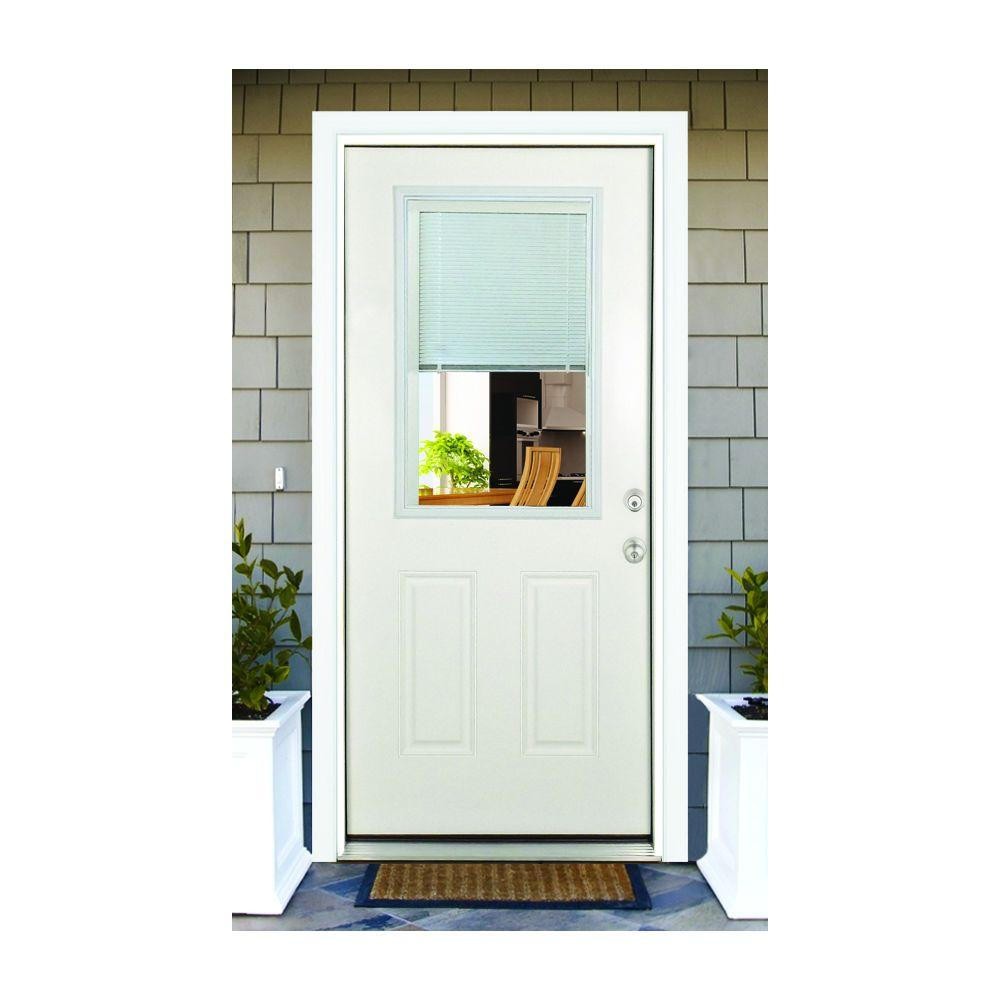 Half view glass 32x80 entry door with internal blinds.
