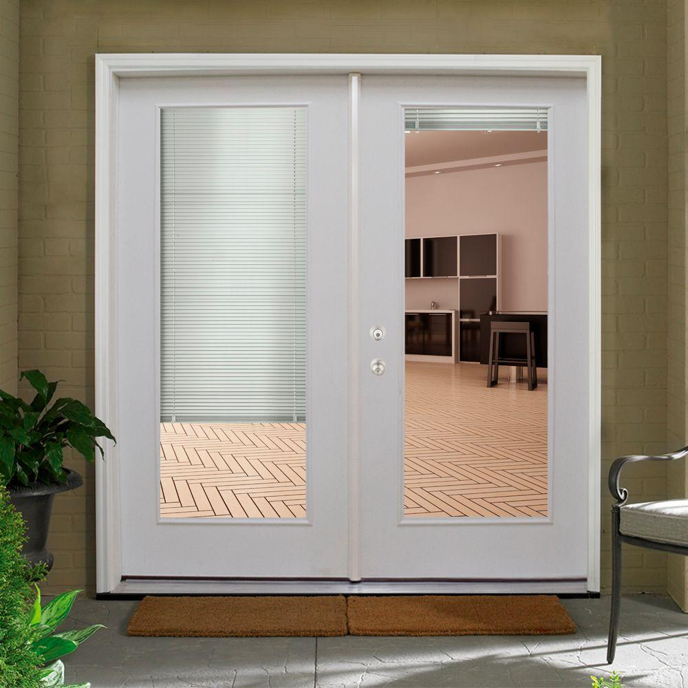 6' modern french doors with full view glass and internal blinds.