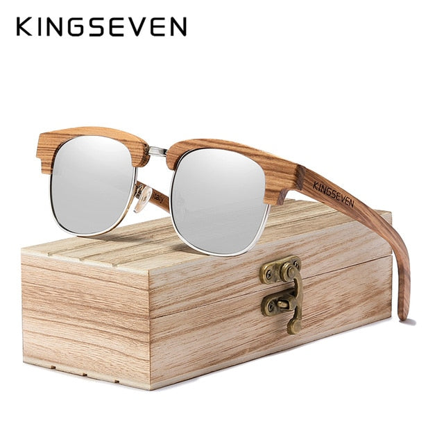 KINGSEVEN 2020 New Retro Wooden Natural Male Woman Sunglasses Polarized