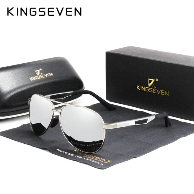 KINGSEVEN Brand Men's Vintage Square Sunglasses Polarized