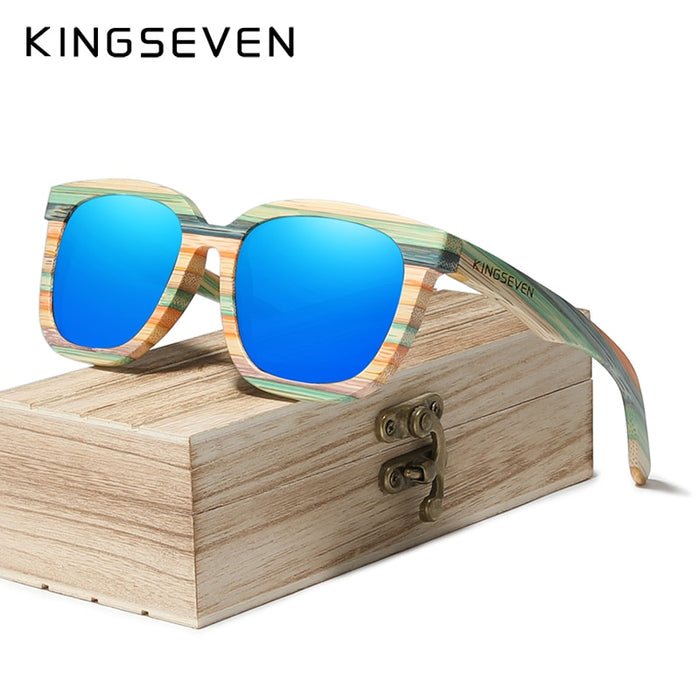 KINGSEVEN Handmade Retro Natural Bamboo Sunglasses Men Women Polarized