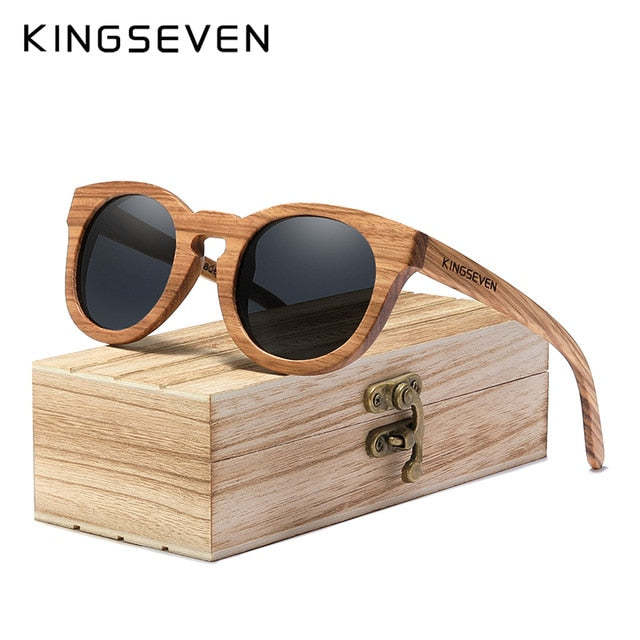 KINGSEVEN 2020 New Natural Wood Sunglassess Full Frame 100% Handmade Polarized