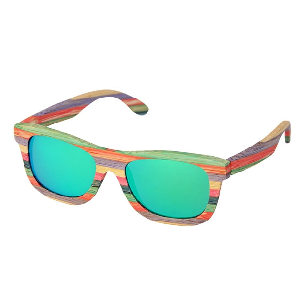 Vintage multicolor Bamboo Polarized sunglasses for women