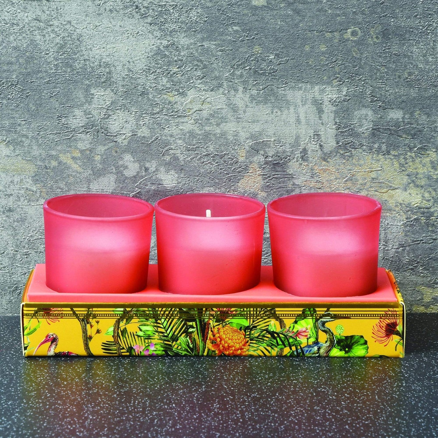 Candlelight Chinoiserie Set of 3 Wax Filled Candle Pots Oriental Lily Scent 50g - Quirky Giftz Ltd