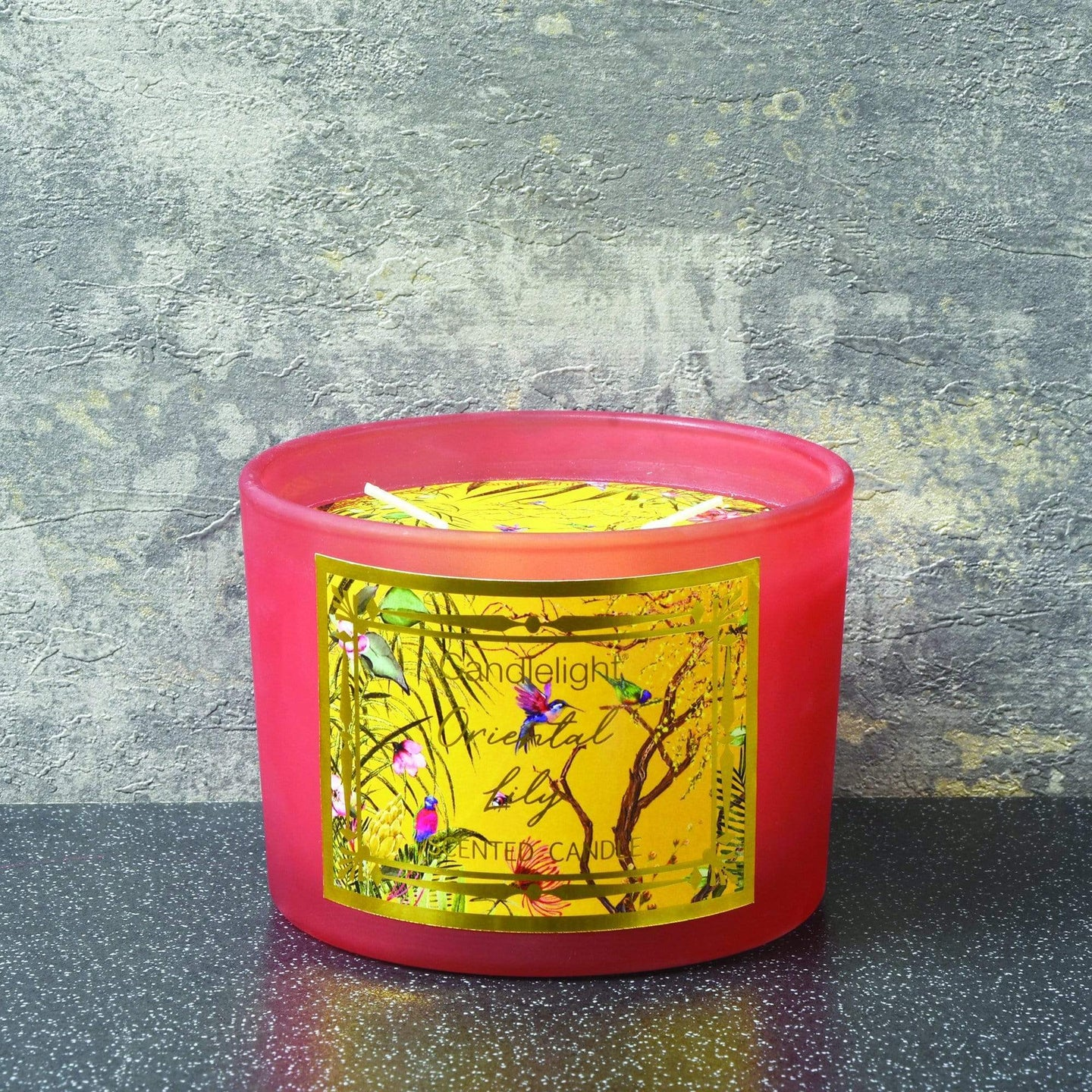 Candlelight Chinoiserie 2 Wick Wax Filled Candle Pot Oriental Lily Scent 380g - Quirky Giftz Ltd
