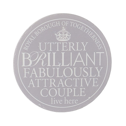 Wall Plaque 'Utterly Brilliant Fabulously Attractive Couple Lives Here' - Quirky Giftz Ltd