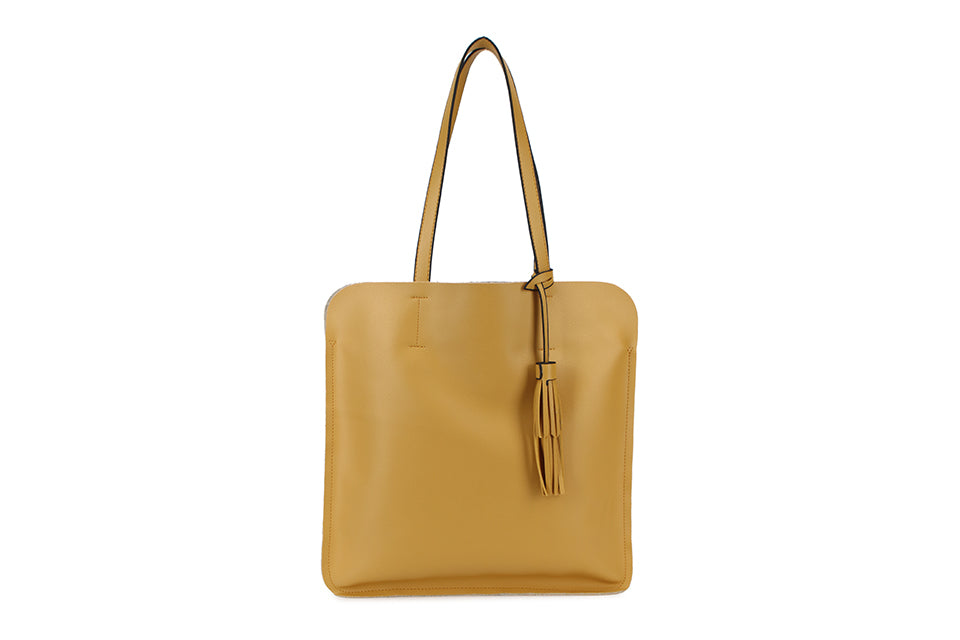 Yellow Ladies Faux Leather Top Handled Tote bag with Tassle Detail - Quirky Giftz Ltd