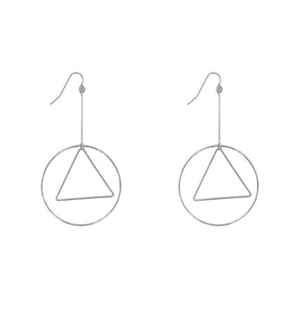 Adeline Skinny Circle and Triangle Long Earrings - Quirky Giftz Ltd