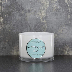 Candlelight Nantucket Bay Wax Filled Pot 2 Wick Candle Seasalt Scent 380g - Quirky Giftz Ltd