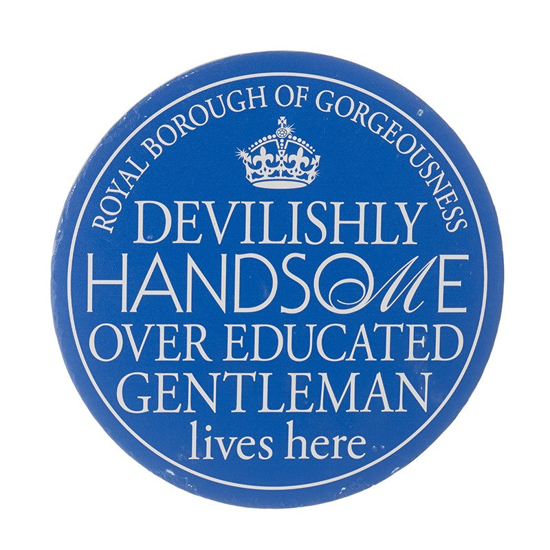 Wall Plaque 'Devilishly Handsome Over Educated Gentleman Lives Here' - Quirky Giftz Ltd