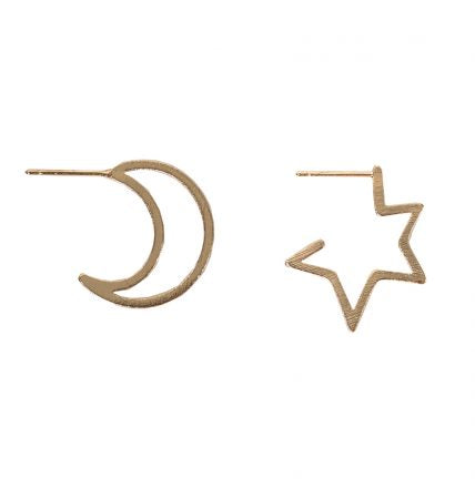 Chiarra Moon And Star Mismatched Earrings - Quirky Giftz Ltd