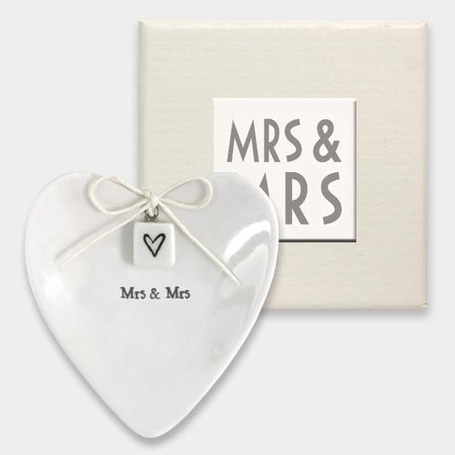 East Of India 'Mrs & Mrs' Porcelain Ring Dish - Quirky Giftz Ltd
