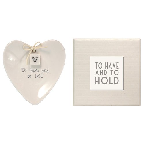 East Of India 'To Have And To Hold' Porcelain Ring Dish - Quirky Giftz Ltd