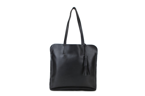 Black Ladies Faux Leather Top Handled Tote bag with Tassle Detail - Quirky Giftz Ltd
