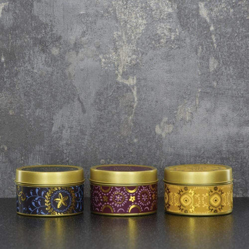 Candlelight Bohemian Set of 3 Small Tin Candles Amber Shea, Angel Flower, Amber Lily Scent 60g 4PK - Quirky Giftz Ltd