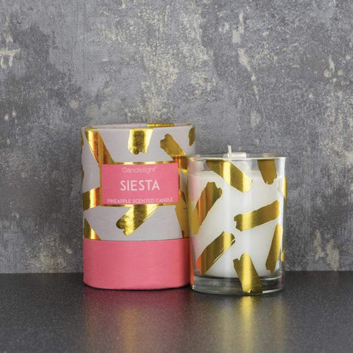 Candlelight Siesta Wax Filled Pot Candle in Gift Box Pineapple Scent 220g - Quirky Giftz Ltd