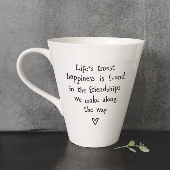 East Of India Porcelain Mug 'Life's Truest Happiness' - Quirky Giftz Ltd