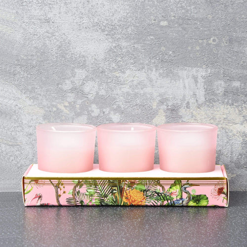 Candlelight Chinoiserie Set of 3 Wax Filled Candle Pots Oriental Flower Scent 50g - Quirky Giftz Ltd
