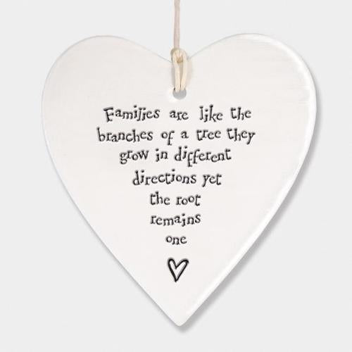 East Of India Hanging Porcelain Heart - Quirky Giftz Ltd